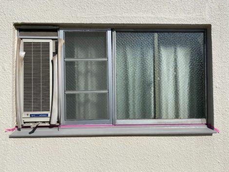 福岡県直方市 窓枠の笠木塗装 無機ポリマーセメント透湿型防水保護材・ 商品名:Perfect-One(パーフェクト・ワン)